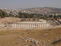 Vue de centre de Jerash, Jordanie Photos stock