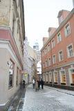 Vue de centre de Riga à l'hiver Images stock