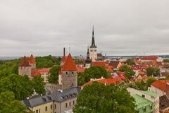 Vue de centre historique de Tallinn, Estonie (site de l'UNESCO) Image stock