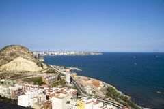 Vue de château d'Alicante photo stock