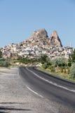 Vue de château d'Uchisar dans Cappadocia, Photo stock