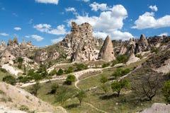 Vue de château d'Uchisar dans Cappadocia Images libres de droits