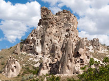 Vue de château d'Uchisar dans Cappadocia Photo stock