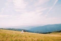 Vue de champ d'or d'été avec les deux jeunes romantiques marchant dessus Forest Hills majestueux sous le ciel ensoleillé étonnant Photographie stock
