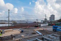 Vue de chantier de rivière, de pont et de construction de Washington Art Image libre de droits