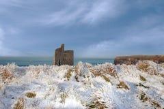 Vue de Christmasy de plage et de falaises de ballybunion Photographie stock