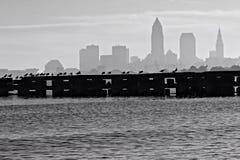 Vue de Cleveland Ohio du centre de parc d'Edgewater Photos libres de droits