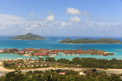 Vue de colline en Seychelles Photos stock