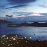 Vue de compartiment au crépuscule Photographie stock