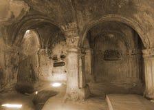 Vue de composition en chambre de caverne d'Uplistsikhe images stock