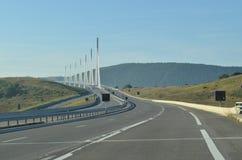 Vue de conducteur de viaduc de Millau Images libres de droits