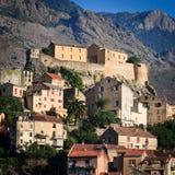 Vue de Corte, Corse Photo stock