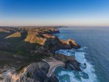 Vue de Costa Vicentina du ciel Lever de soleil Sun Photo libre de droits