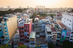 Vue de coucher du soleil d'horizon de Ho Chi Minh City, Vietnam Images libres de droits