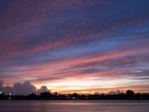 Vue de coucher du soleil de Chao Phraya River Photos stock