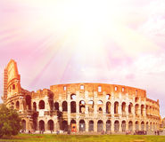 Vue de coucher du soleil de Colosseum photo stock