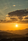 Vue de coucher du soleil de Hak Observatory Photo stock