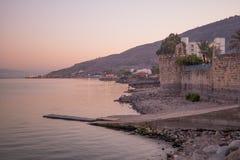 Vue de coucher du soleil de la mer de la Galilée image libre de droits