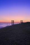 Vue de coucher du soleil de la plage R-U de Brighton Image stock