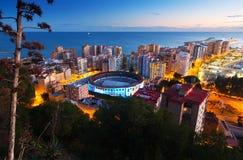 Vue de coucher du soleil de Malaga Images stock