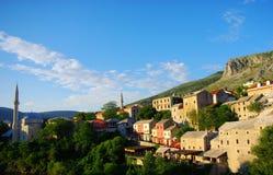 Vue de coucher du soleil de Mostar Photographie stock libre de droits