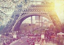 Vue de coucher du soleil de paysage urbain de Paris Photo stock