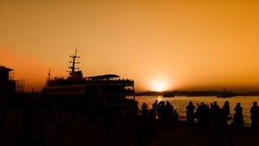 Vue de coucher du soleil de silhouette de bosphorous Photos stock