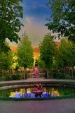 Vue de coucher du soleil du vieux site royal de la La Granja Image libre de droits