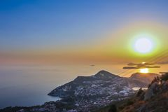 Vue de coucher du soleil de Dubrovnik images stock