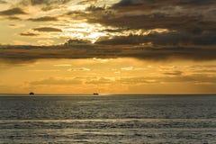 Vue de coucher du soleil en Georgia Straight vue du ferry photographie stock