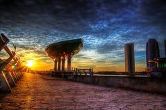 Vue de coucher du soleil et de lever de soleil Photographie stock libre de droits