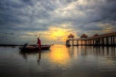 Vue de coucher du soleil et de lever de soleil Photo stock