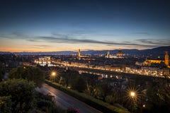 Vue de coucher du soleil de Florence Image stock