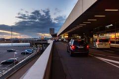 Vue de coucher du soleil de l'aéroport de Cologne Bonn Image stock