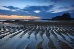 Vue de coucher du soleil sur le côté Kuantan Malaisie de plage Image stock