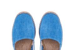 Vue de couleur bleue d'espadrilles d'en haut Image stock