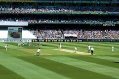 Vue de couverture dans le match d'essai de cricket de cendres Image libre de droits