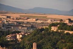 Vue de début de la matinée d'aqueduc Ségovie, Espagne photos libres de droits