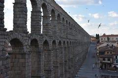 Vue de début de la matinée d'aqueduc Ségovie, Espagne image stock