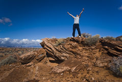 Vue de désert avec un jeune homme Image stock