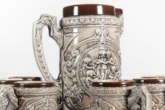 Vue de détail d'ensemble de tasses de bière Photo libre de droits