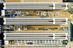 Vue de détail de mainboard d'ordinateur, plan rapproché Photographie stock libre de droits