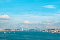 Vue de détroit de Bosphorus et de pont de Bosphorus, Istanbul, Turquie Images libres de droits