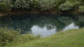 Vue de d?tente de la belle nature albanaise La pluie l?g?re tombe dans un lac naturel entour? par la flore verte banque de vidéos