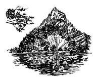 Vue de dessin d'un lac alpin avec une belle île sur un fond d'illustration de montagnes Photos stock