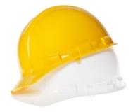 Casque antichoc d'isolement - 45° blanc et jaune Image stock