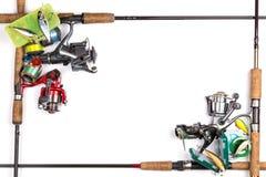 Vue de différents articles de pêche Photo stock
