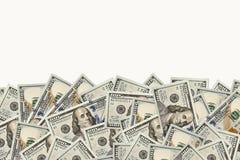 Vue de 100 dollars de billets de banque Images stock