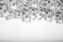 Vue de 100 dollars de billets de banque Image stock