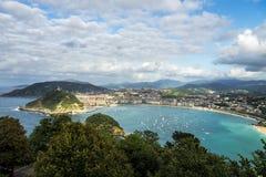 Vue de Donostia - de San Sebastian de Mont Igueldo, pays Basque, Espagne image stock